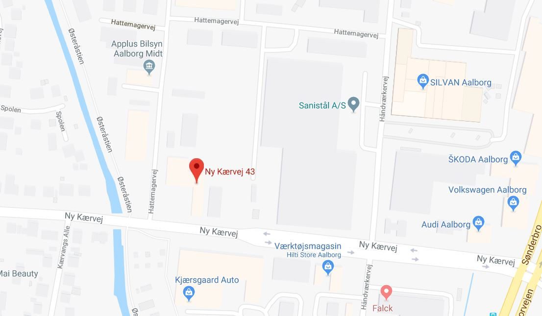 Kort til Røde Kors Aalborgs hovedafdeling